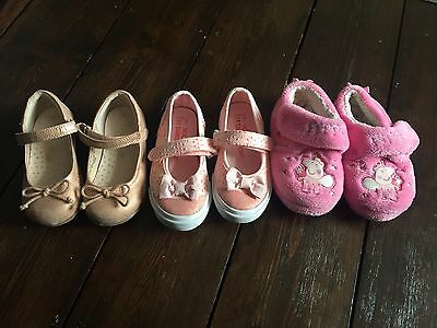 Next/primark Baby Girls 3Pair Of Shoes Bundle Size 6/7 Peppa Pig Slippers