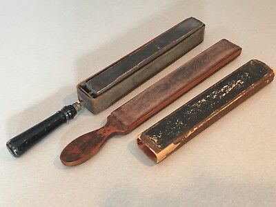 2 Antique Straight Razor Strop