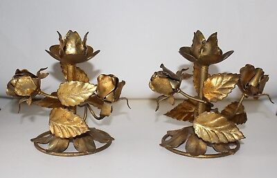 Pair Of Vintage Italian Gold Tole Rose Candlestick Holders