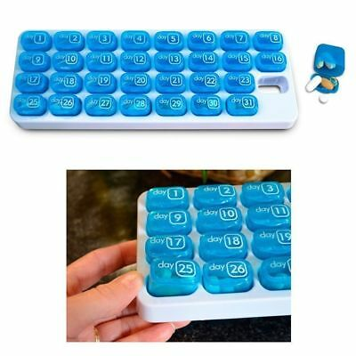 One Month Pill Organiser 31 Day Pill Box Lid Medicine Tablet Storage Dispenser