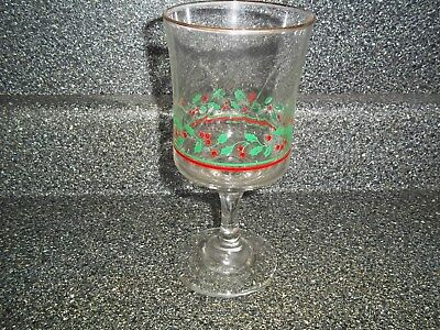 Arby's 1985 Christmas Glass 1 Holly And Berries Gold Rim Glass