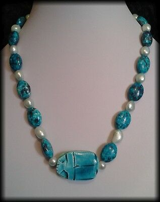 Handmade Vintage Style Egyptian Faience Scarab Beetle Agate and Pearl Necklace