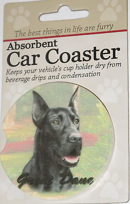 Great Dane Car Coaster Absorbent Keep Cup Holder Dry Stoneware New Black Dog