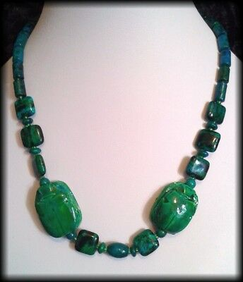 Handmade Vintage Style Egyptian Faience Scarab Beetle Chrysocolla Bead Necklace