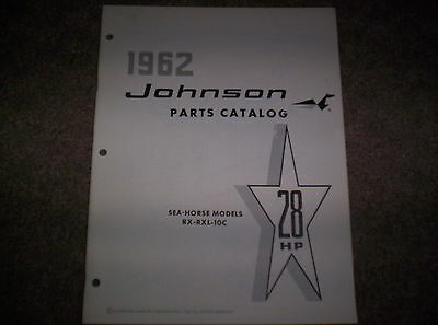 Vintage 1962 Johnson Sea Horse 28 HP RX RXL 10C Outboard Motor Parts Catalog