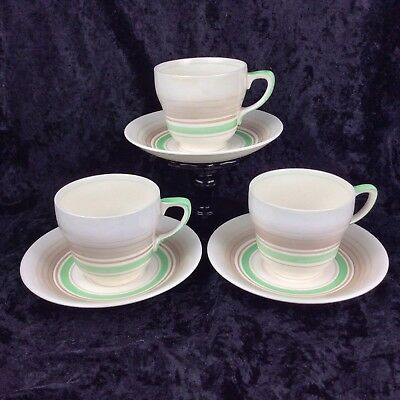 Vintage Grays Pottery Tea Cup & Saucer  Sets x3 Art Deco Hand Painted 1950's