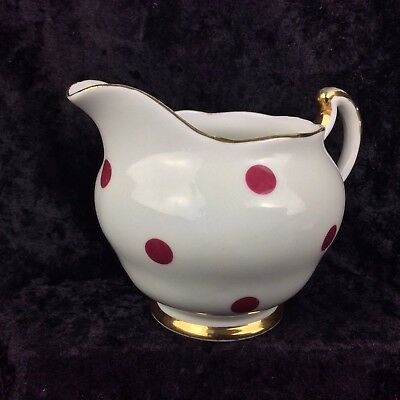 Royal Vale Polka Dot Milk Jug Red & White Bone China Vintage