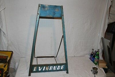 """Vintage 1950s Evinrude Outboard Boat Motor Stand 35"""" Display Gas Oil Metal Sign"""