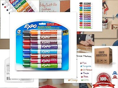 16 Expo Low Odor Dry Erase Markers Set White Board Pens Assorted Colors 16 Pack