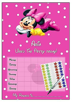 Minnie Mouse Personalised POTTY TRAINING reward Chart with + stickers & Pen