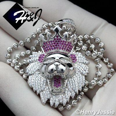 """925 Sterling Silver 30""""x3Mm Silver Moon Cut Bead Chain Lion King Pendant*sp190"""