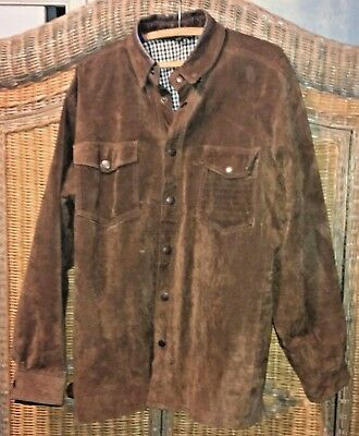 VTG FIELD & STREAM LG Jacket LEATHER SUEDE Flannel-LINED SHIRT-style JACKET coat