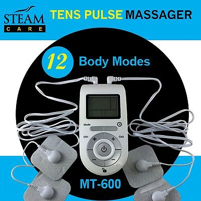 Steam Care TENS EMS PULSE MASSAGER 12 modes 8 pads Ready To Use FDA CLEARED