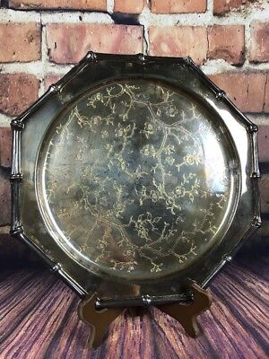 """Leonard Silver Plated 13"""" Platter 8 Sided With Floral Design Bamboo Shaped Edges"""