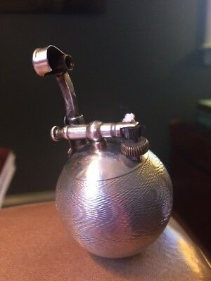 Rare Vintage Dunhill Sterling Silver Ball Petrol Lighter with Wave Design