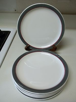 Walker China Restaurant Ware ~ Set of 6 Lunch Plates ~ Gray & Red Border
