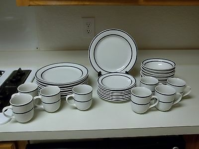Totally Today Blue Rings ~ 24 Piece ~ Stoneware ~ Plates Bowls Cups
