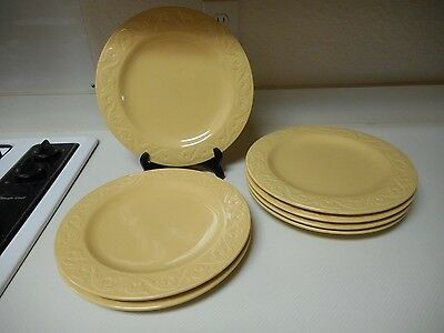 Yellow  Stoneware Dinner Plates Embossed Pattern 11 1/4 Inch