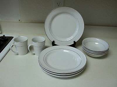 Gibson Everyday Stonware ~ White with Silver Rings ~ 10 Piece Set