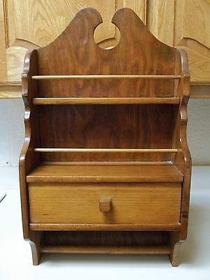Vintage Wooden Spice Rack With Drawer & Towel Holder 23 Inches Tall