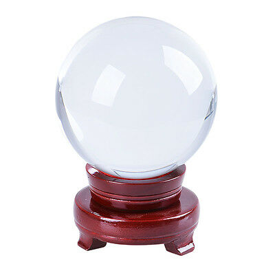 """LONGWIN 120mm Clear Quartz Crystal Ball Sphere Photo Props Wood Stand 4.72"""" D"""
