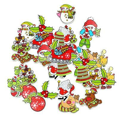 Mixed 50 Christmas Wooden Buttons Embellishment Crafts for Sewing Decoration