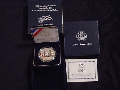 2010 American Disabled Veterans 1oz Proof Silver Dollar - Free Shipping