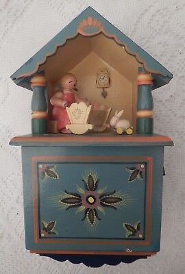 "ERZGEBIRGE Wendt Kuhn THORENS Music Box ""Baby's Room"" Carved Wood Germany"