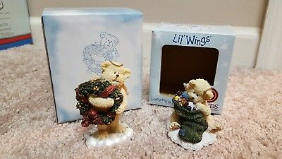 Boyds Bears Little Wings Merrie 24176 and Peek 24555 Christmas Holiday small