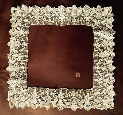Large square frame of handmade 19th c. Point de Gaze needle lace