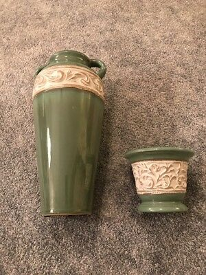 """Pair of Matching Pottery Decor 14"""" & 5"""" By Hosley Potteries"""