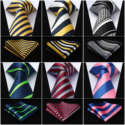 "HISDERN Woven Men Tie Stripe 3.4""SilkNecktie Wedding Handkerchief Set#RS1"