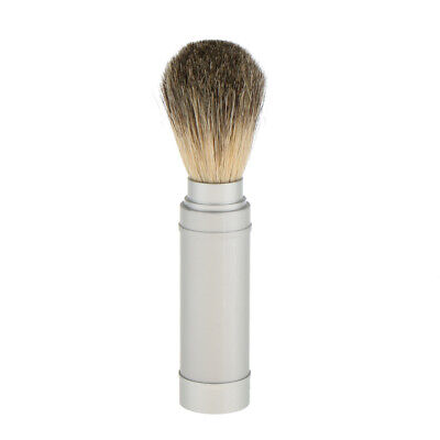 Professional Travel Men Shaving Brush Shave Brush in Metal Tube Silver