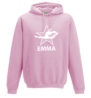 Girls Personalised Gymnastics Air Jump Star Pose Kids Hoodie Dance Back to Schoo