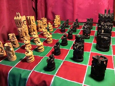 Complete Chess Set Hand Carved Wood Elephant Collectors Vintage Large King 17cm