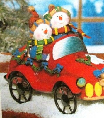 Snowman Couple Driving in Car Figures Decoration