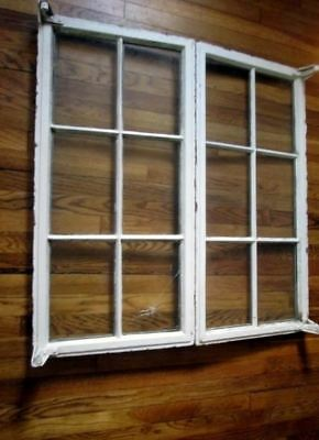 Vtg Pair 2 Primitive CAST IRON Metal FRENCH WINDOW Set Rustic Architectural Salv