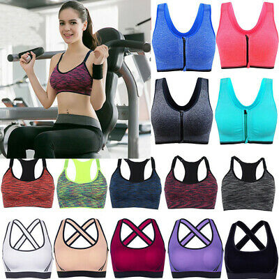 UK Womens Yoga Sports Running Bra Crop Top Vest Stretch Bras Shaper Padded Sexy