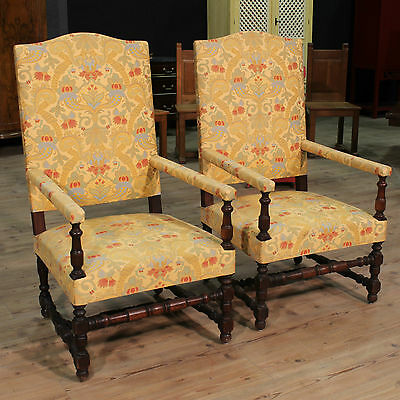 Pair of armchairs furniture chairs in wood antique style fabric antiques 900