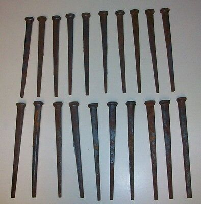 "Lot of ~20~VINTAGE~ 5"" LONG~SQUARE CUT NAILS ~SPIKES~NOS"