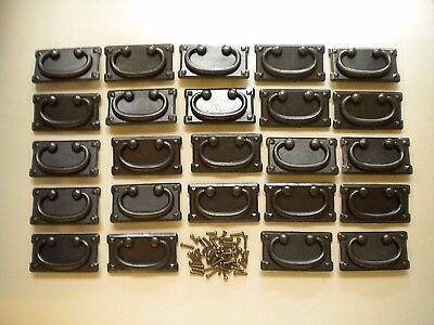 "24 Metal Hanging 3.75"" x 2"" Drawer Pulls with Back Plates & Screws"