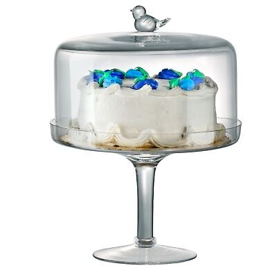 Artland Large Clear Glass Cake Stand with Dome Pedestal Dessert Stand 25cm NEW