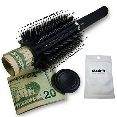 Hair Brush Diversion Safe Stash with Smell Proof Bag by Stash-it Can Secret lid