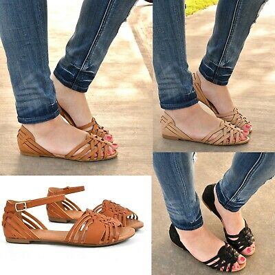 0e27139fe822 Womens Sandals Flat Gladiator Strappy Open Toe Flip Flop Sandal Shoes New