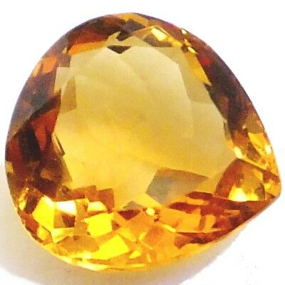 NATURAL PEAR-CUT CITRINE GEMSTONE LOOSE 10.4 x 10.1 mm EXCEPTIONAL GOLDEN YELLOW