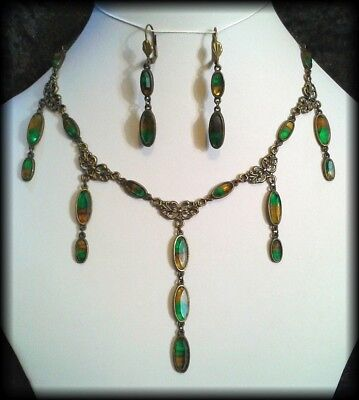 Handmade Antique Edwardian Style Green/Yellow Cabochon Drop Necklace & Earrings
