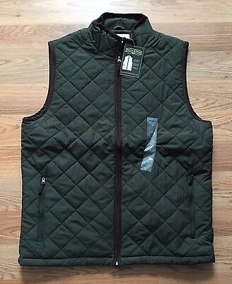NWT Men's FIELD & STREAM Olive Green Brown Explorer Quilted Vest Size XL X-Large