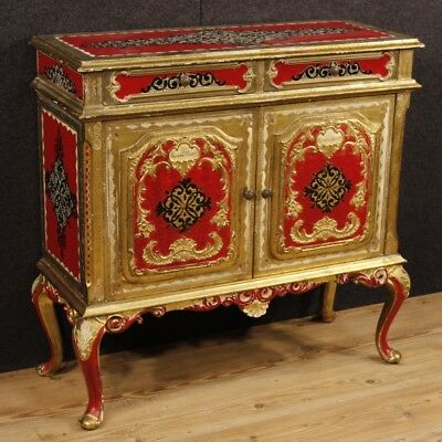 Sideboard lacquered furniture Italian cupboard golden wood antique style cabinet