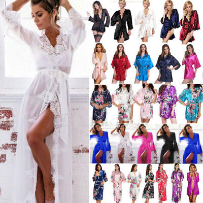 Womens Bridesmaid Satin Robe Kimono Wedding Nightdress Sleepwear Dressing Gown