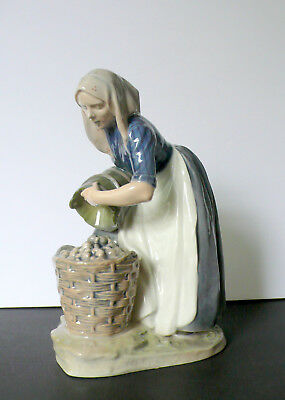"Royal Copenhagen Porcelain Sculpture Figurine ""Woman Collecting Patatoes"" # 1549"
